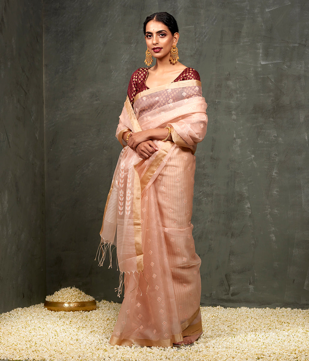 Handwoven Light Peach Dhakai Jamdani Saree with White Booti