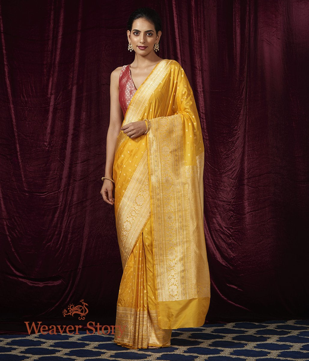 Handwoven Yellow Small Floral Booti Saree with Broad Border