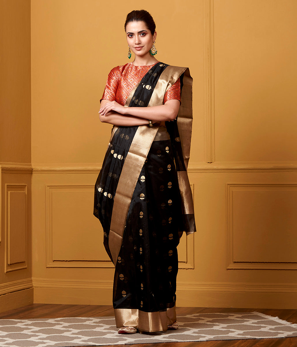 Handwoven Black Floral Boota With Chevron Gold Border Saree