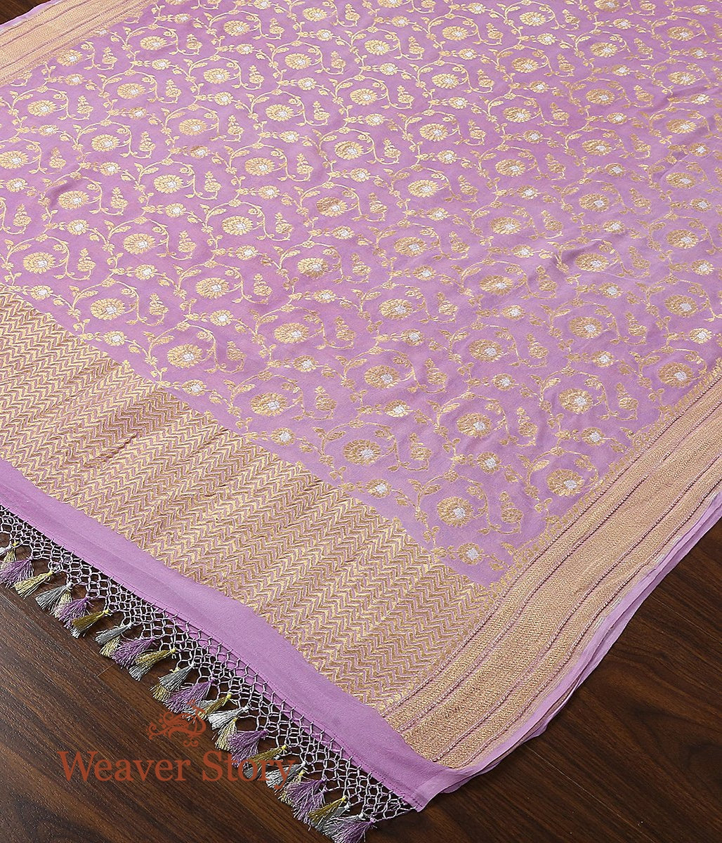 Handwoven Banarasi Georgette Cutwork Dupatta in Light Purple