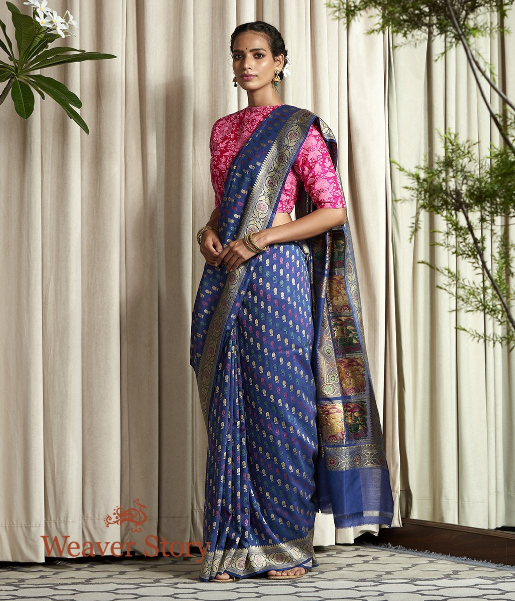 Handwoven Navy Blue Hand Spun Cotton Silk Baluchari Saree with Small Booti