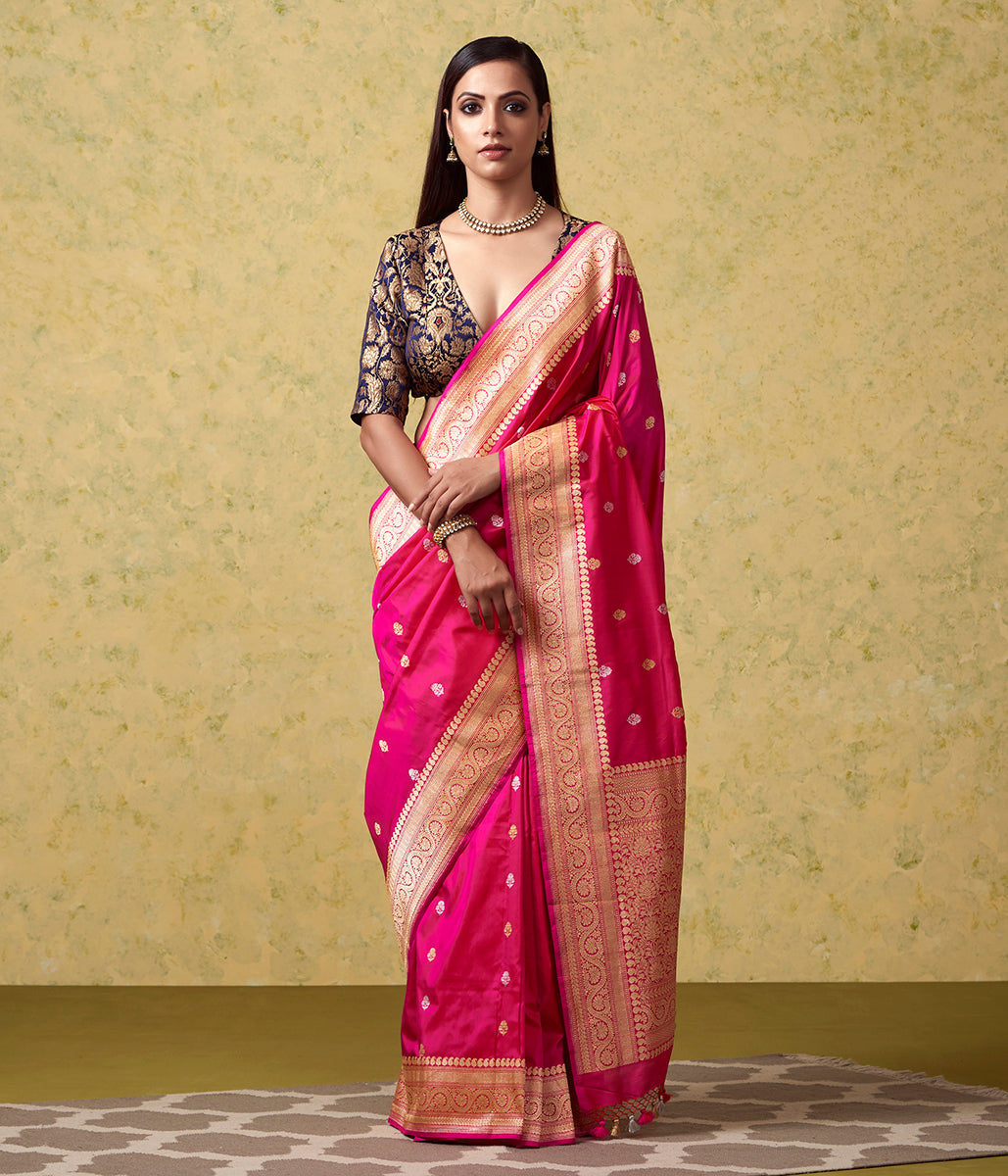 Handwoven Pink Sona Rupa Kadhwa Booti Saree with Striped Blouse