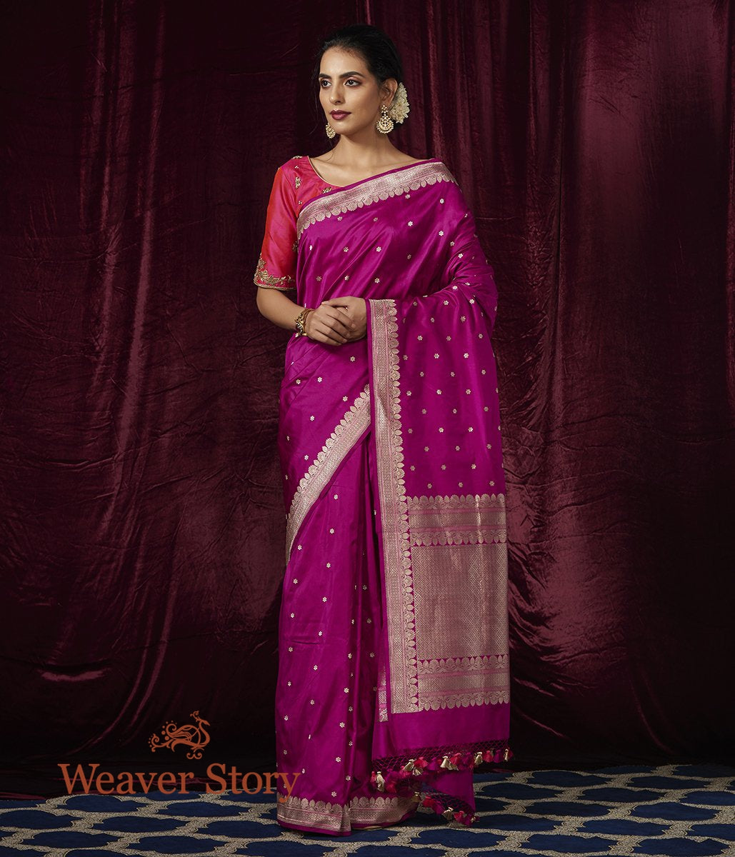 Handwoven PurpleKatan Silk Saree with Small Floral Booti