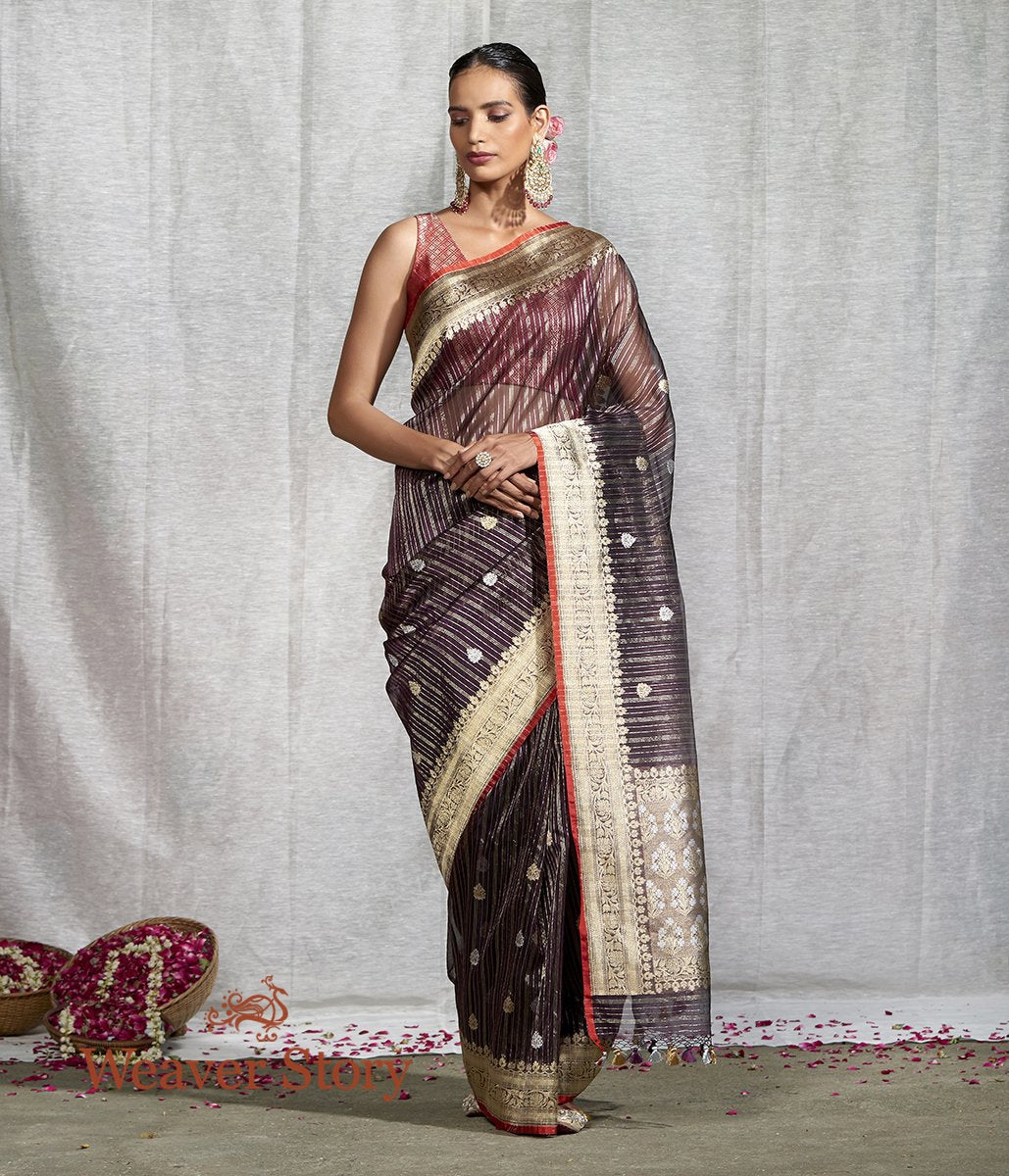 Handwoven Wine Kora Silk Banarasi Saree