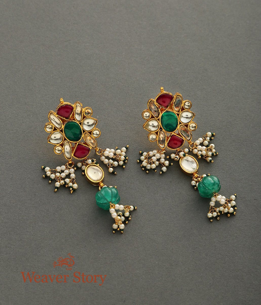 Floral Kundan Earrings with Carved Drops