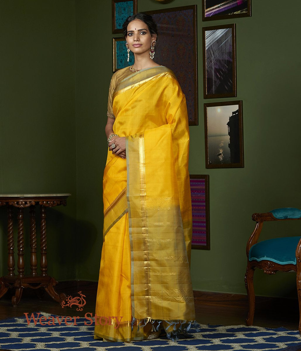Handwoven Yellow Kanjivaram Silk Saree with Light Green Border