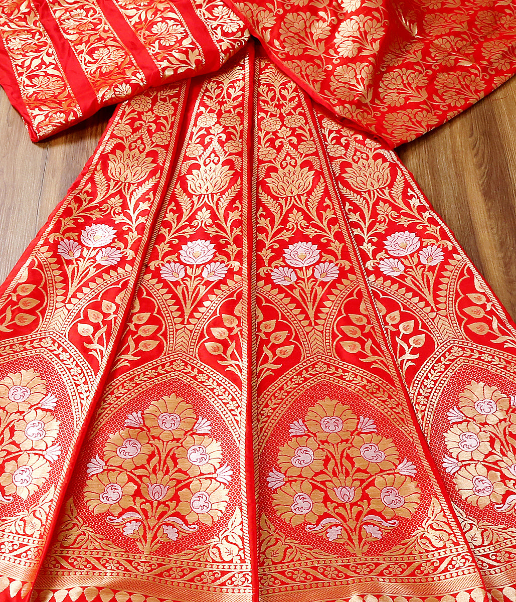 Handwoven Banarasi Lehenga in Red Color