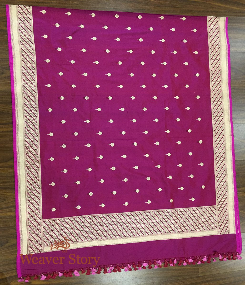 Handwoven Wine Katan Silk Dupatta with Pankhi Booti