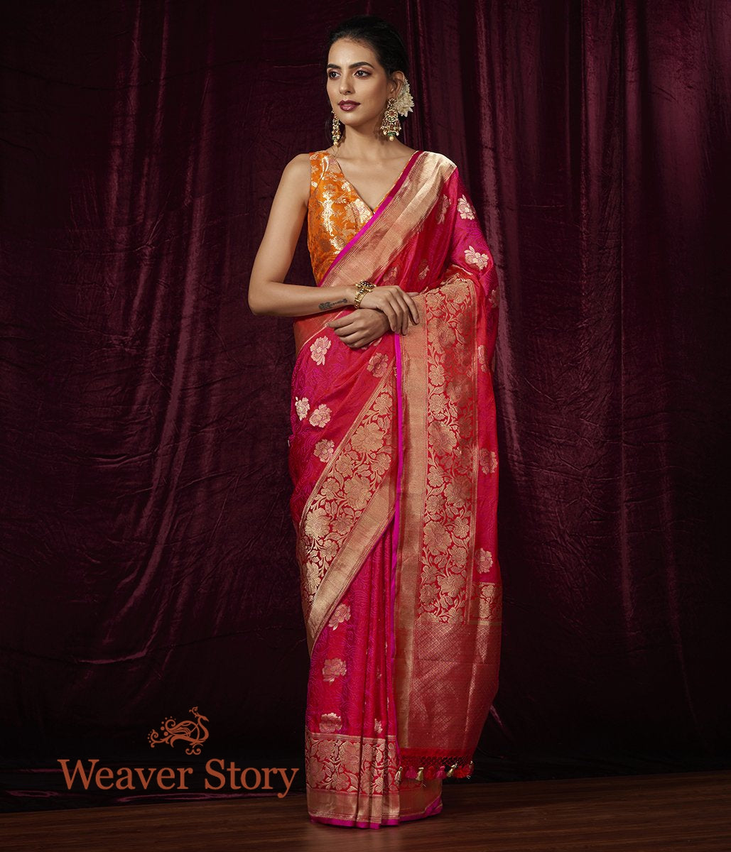 Handwoven Pink Tanchoi Saree with Heavy Floral Border
