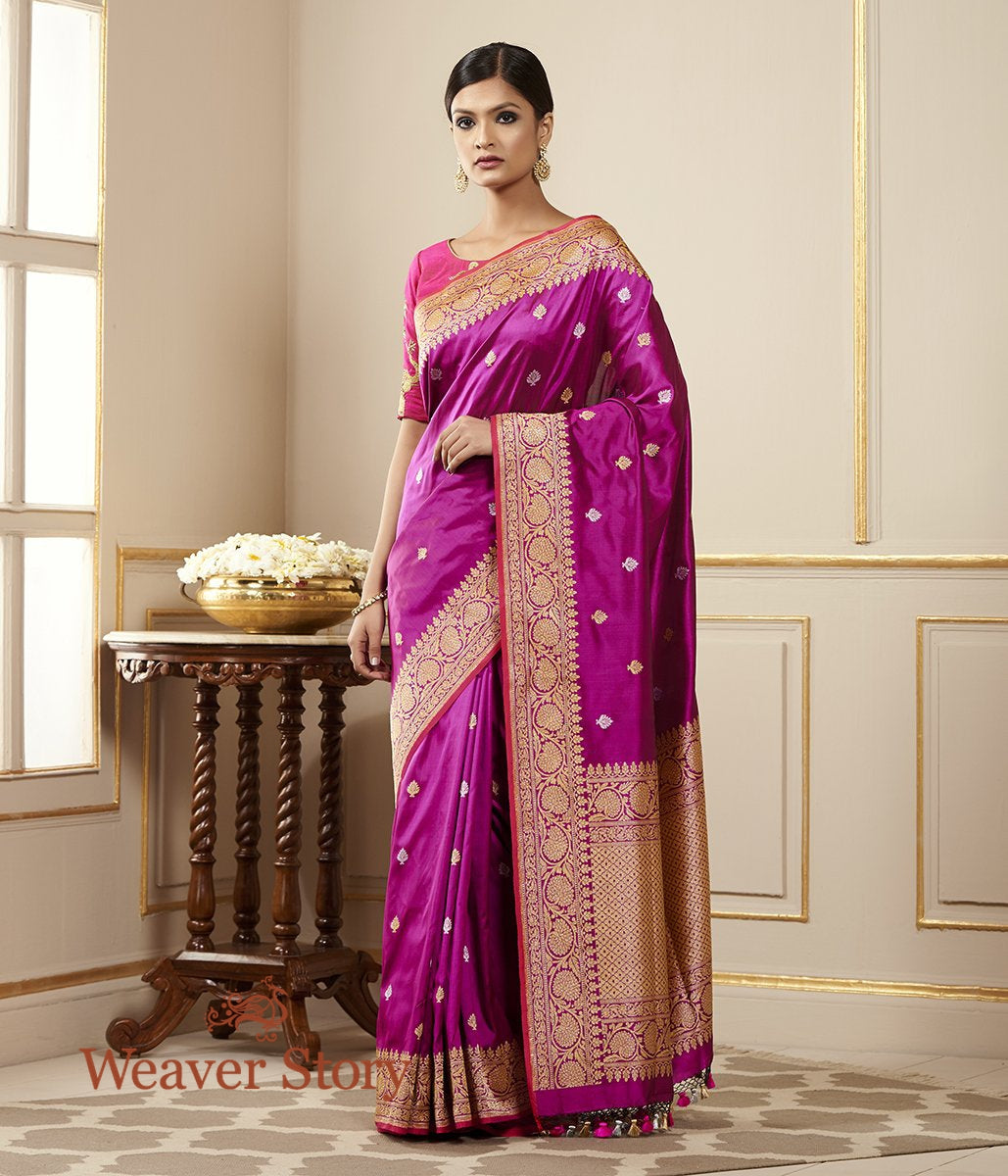 Handwoven Purple Banarasi Saree with Kadhwa Booti and Floral Border