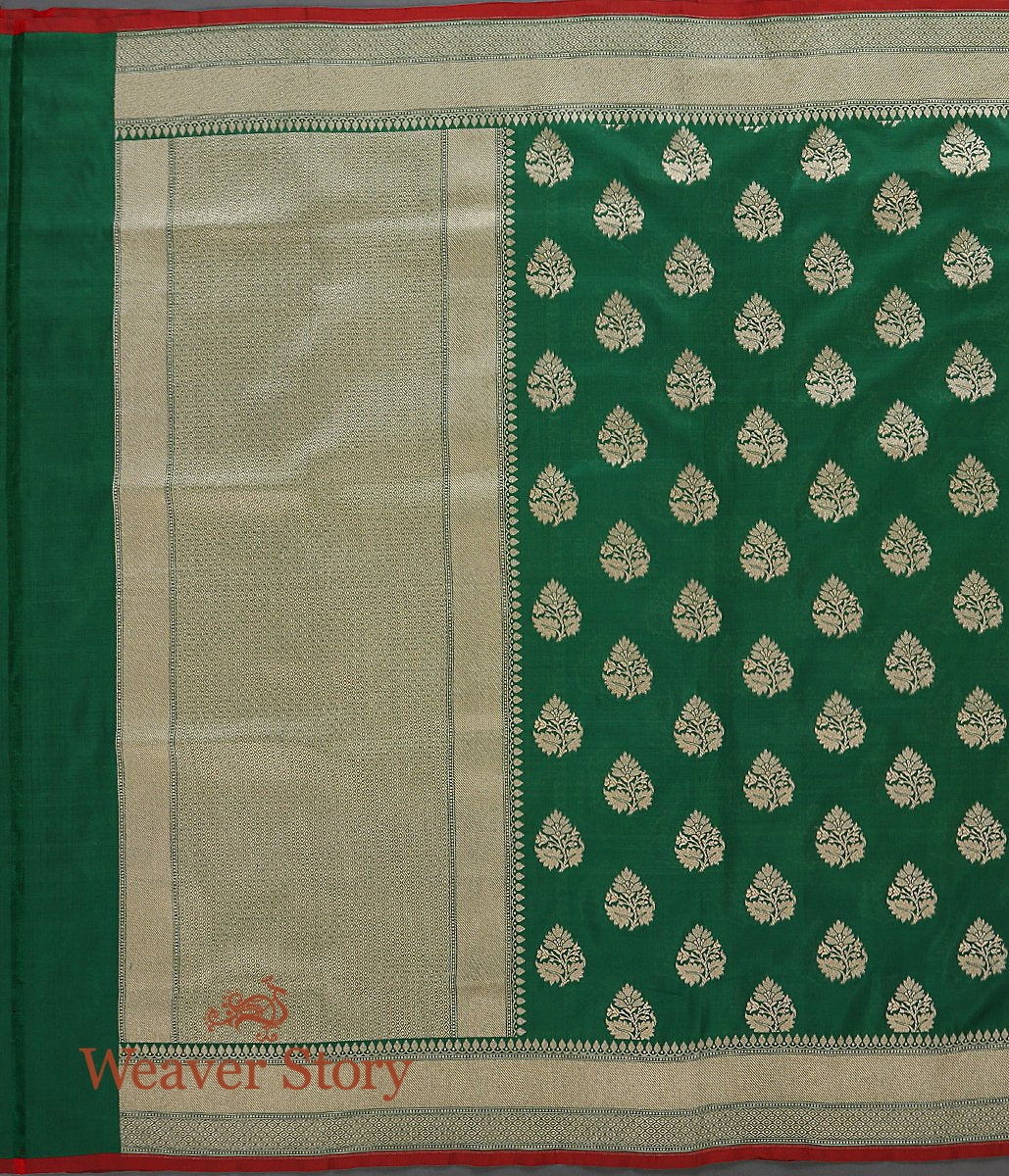 Handwoven Green Katan Silk Dupatta with Leaf Motifs