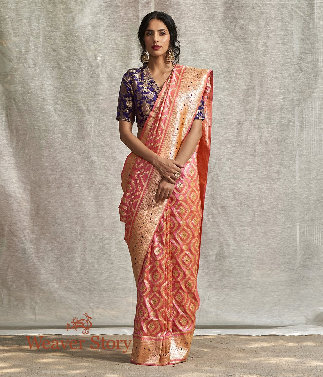 Handwoven Pink and Peach Kadhwa Jangla Tested Zari