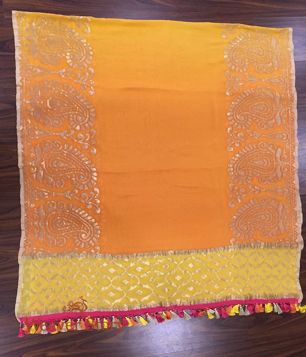 Handwoven Ombre Dye Orange and Yellow Banarasi Georgette Dupatta