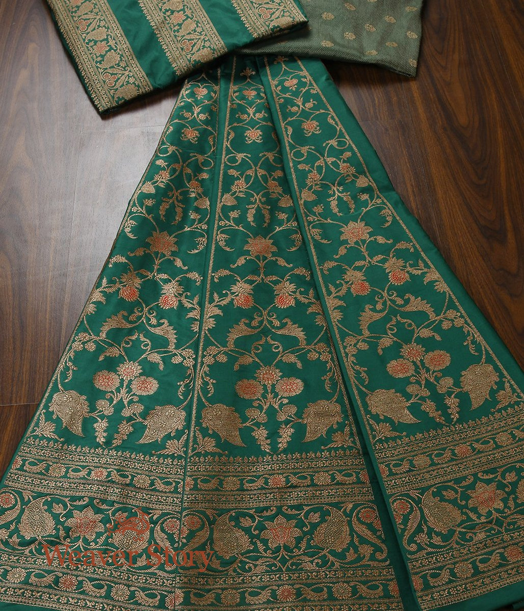 Handwoven Green Antique Zari Lehenga