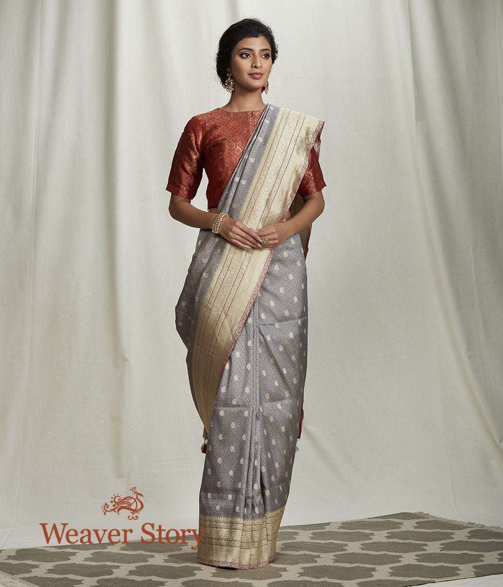 Handwoven Grey Tanchoi Saree with Kadhwa Booti