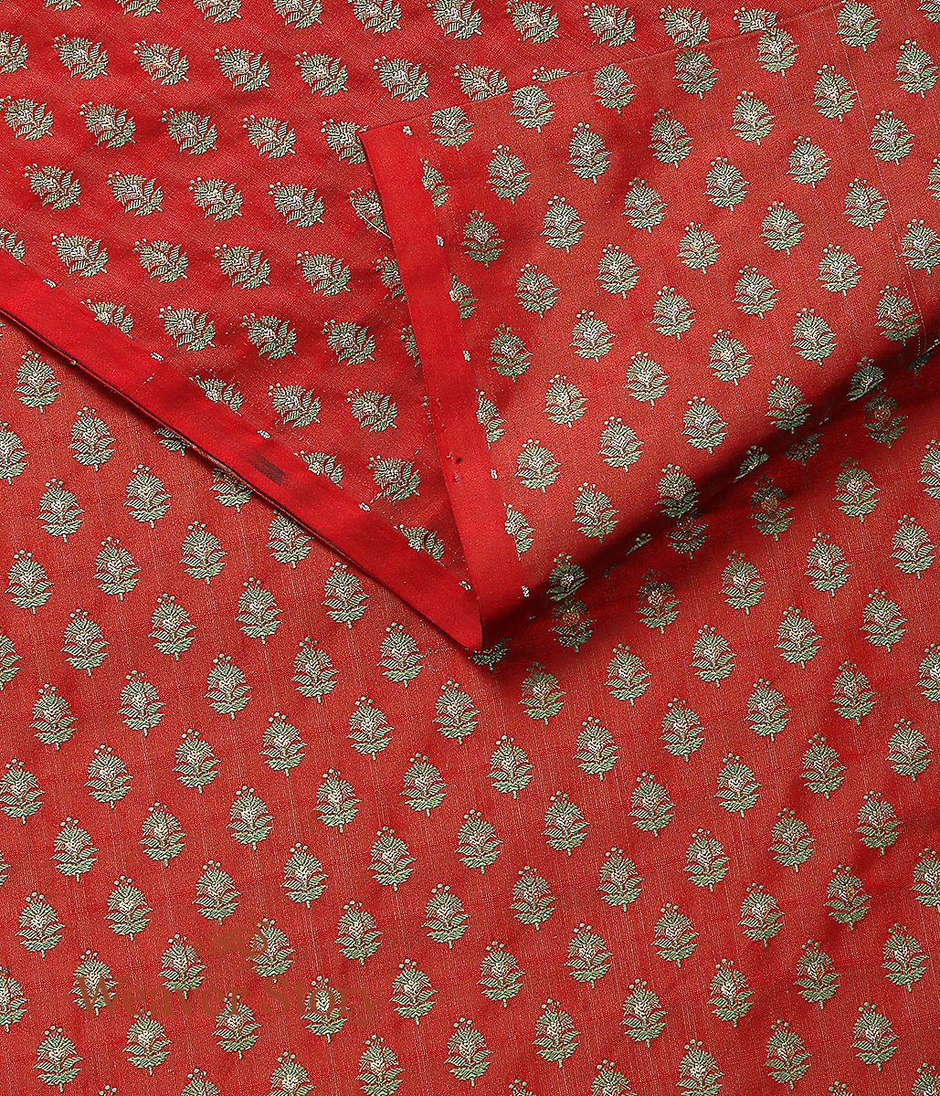 Handwoven Red Green Zari Booti Tanchoi Fabric