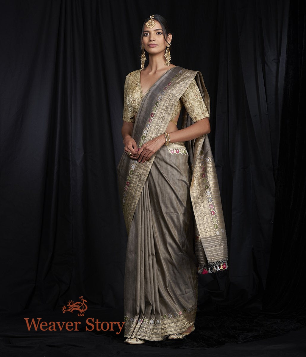 Handwoven Grey Tusser Saree with Kadhwa Meenakari Border