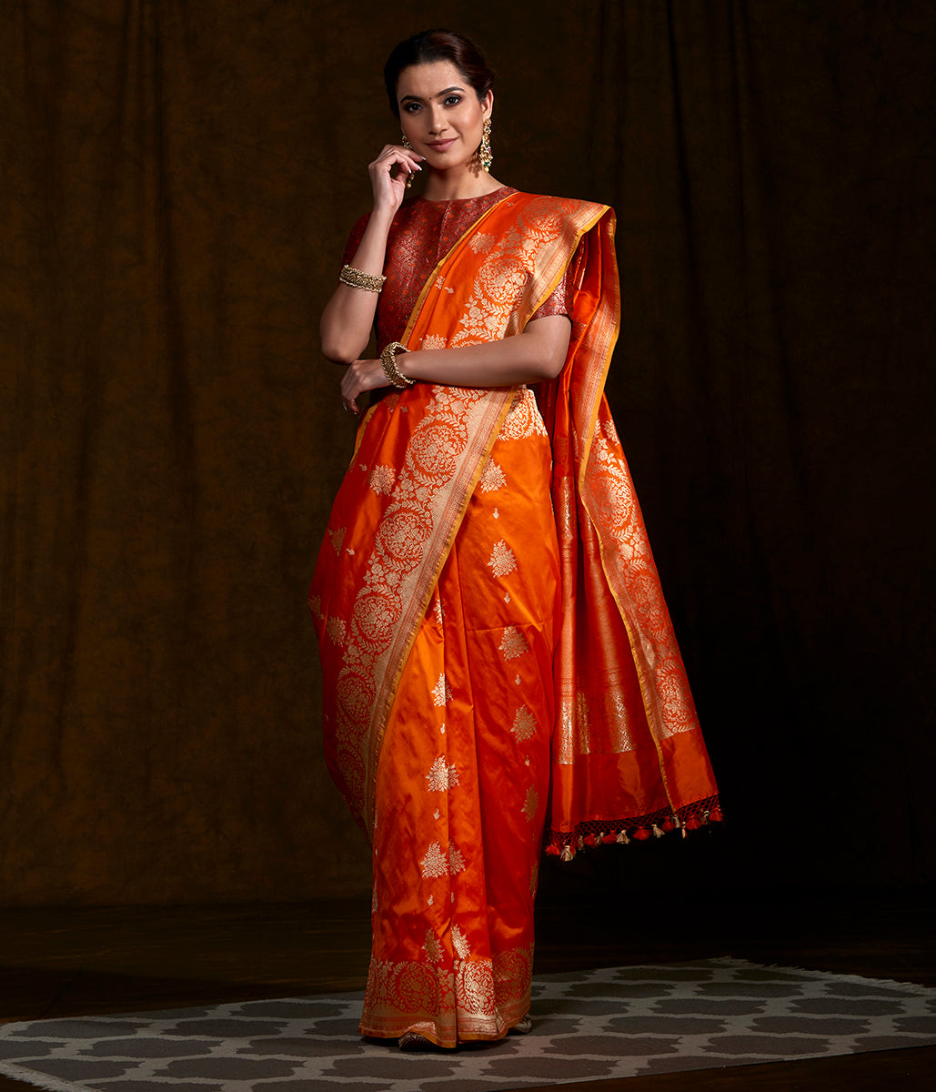 Handwoven Orange Kadhwa Boota Saree with Open Border