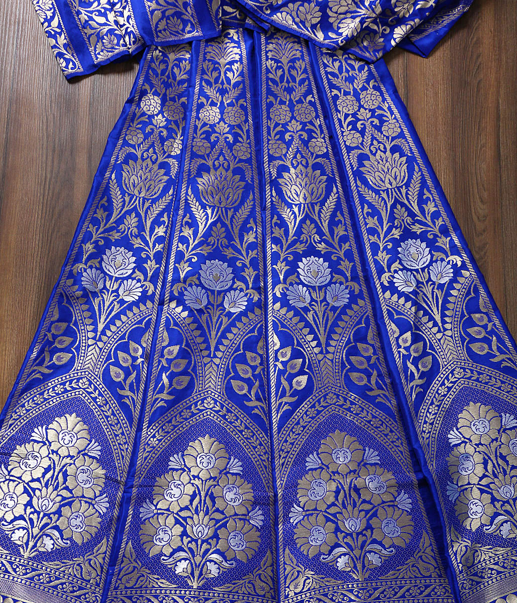 Handwoven Banarasi Royal Blue Cutwork Lehenga