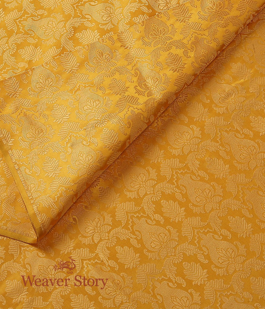 Handwoven Yellow Pure Satin Kimkhab Tanchoi Fabric