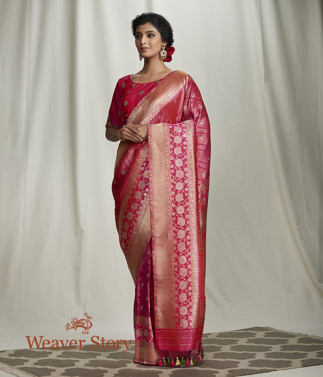 Handwoven Pink Banarasi Kimkhab Saree with Diagonal Bel