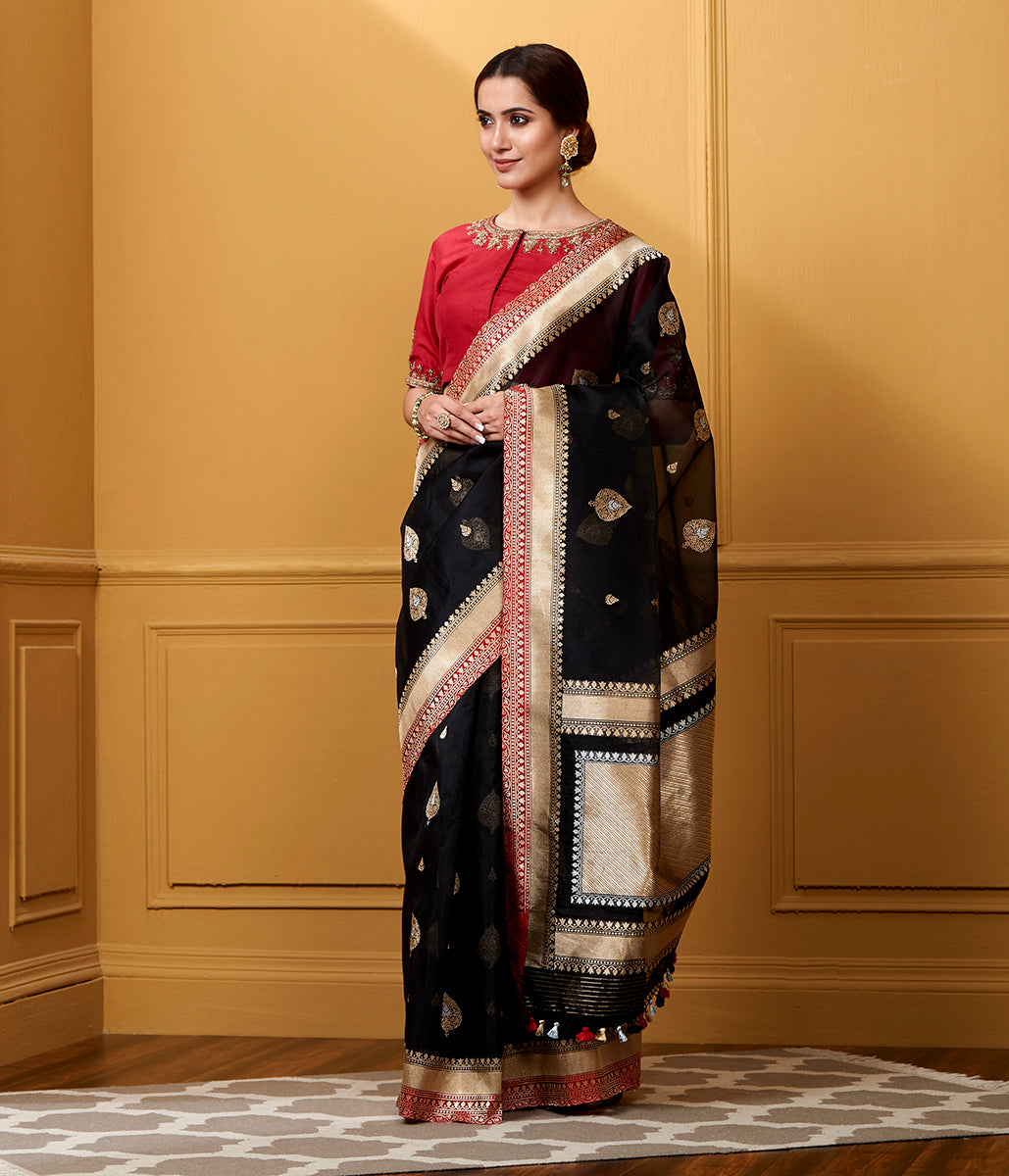 Handwoven Black Kora Saree with Red Border