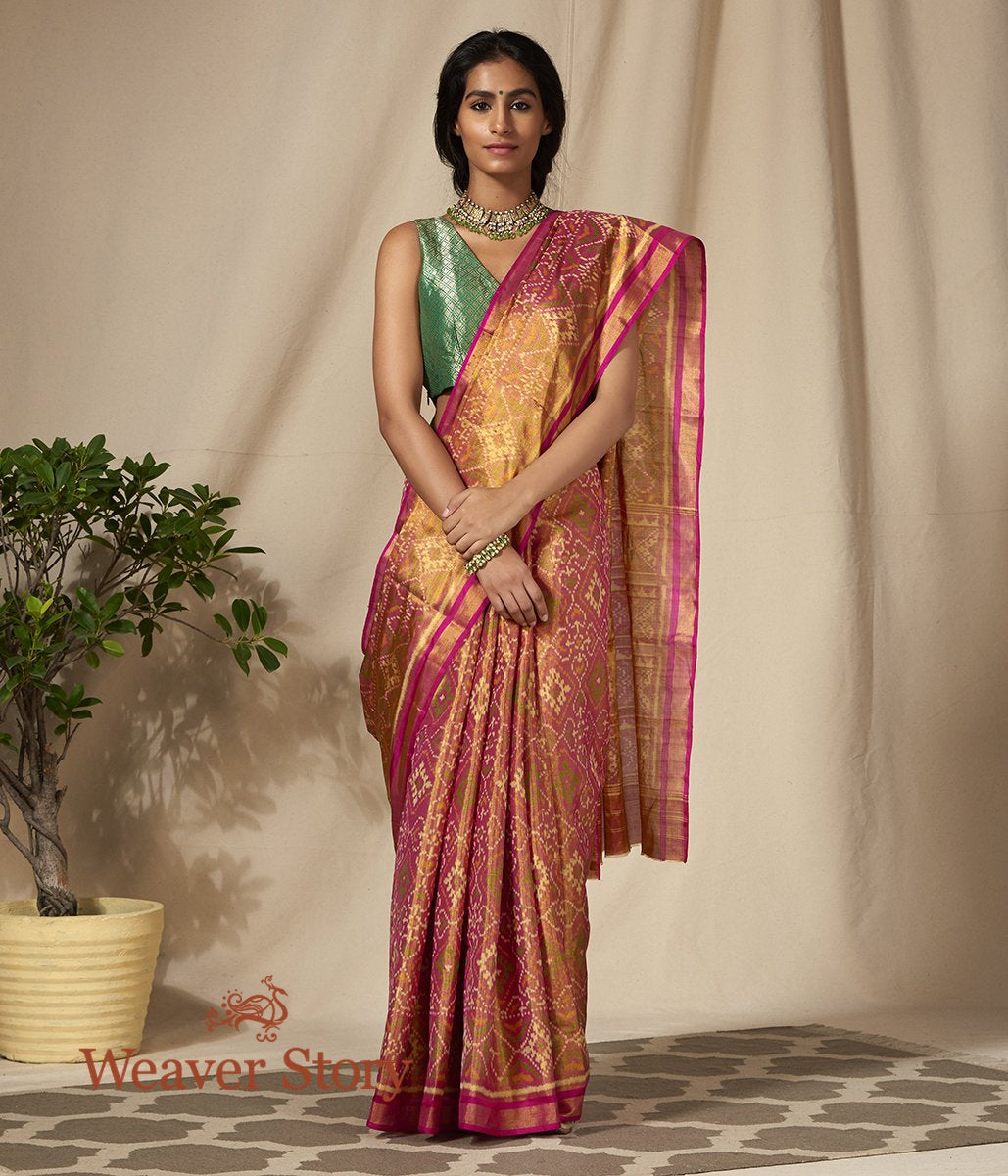 Handwoven Silk Tissue Gujarat Patola Saree in Gold and Pink