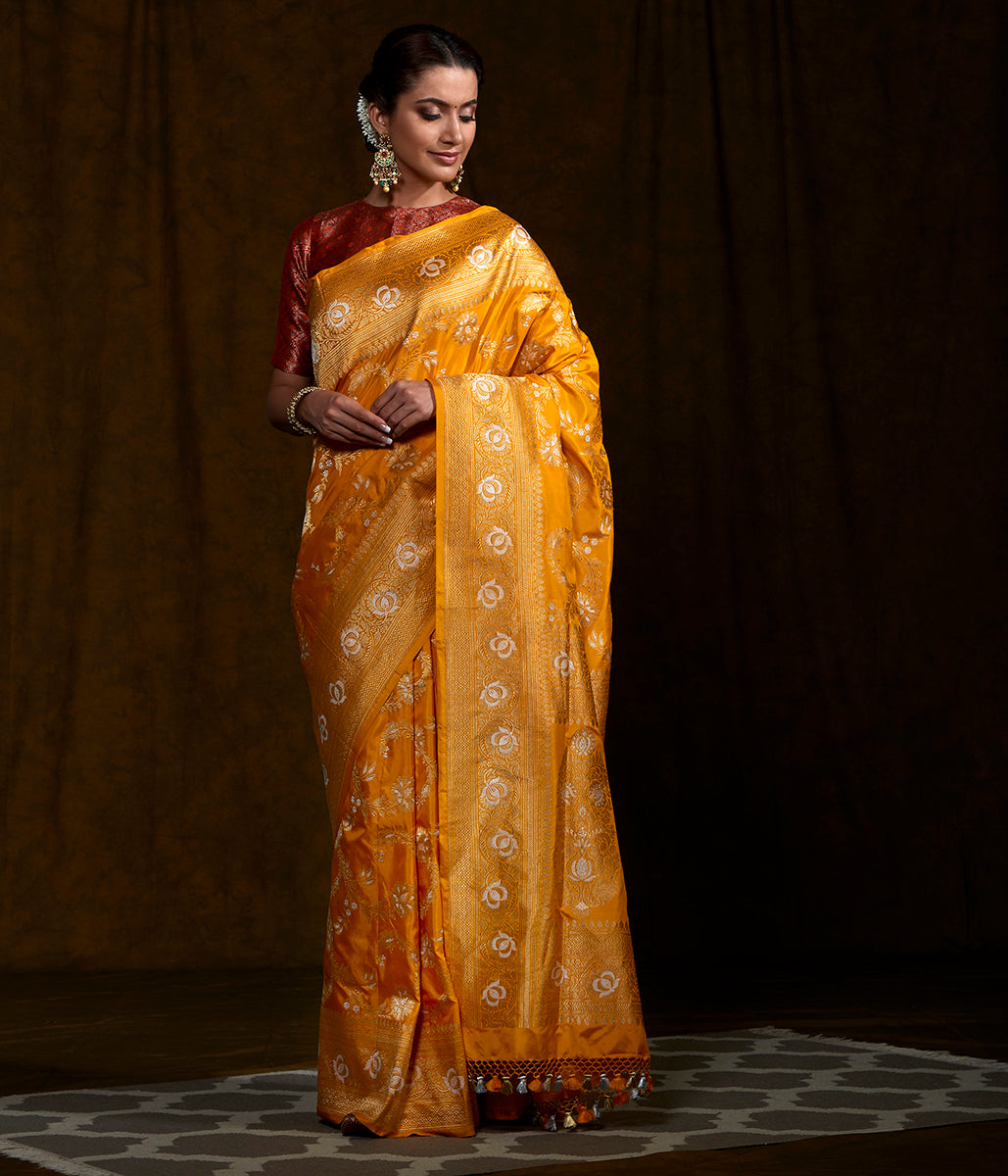 Handwoven Yellow Kadhwa Jangla Saree