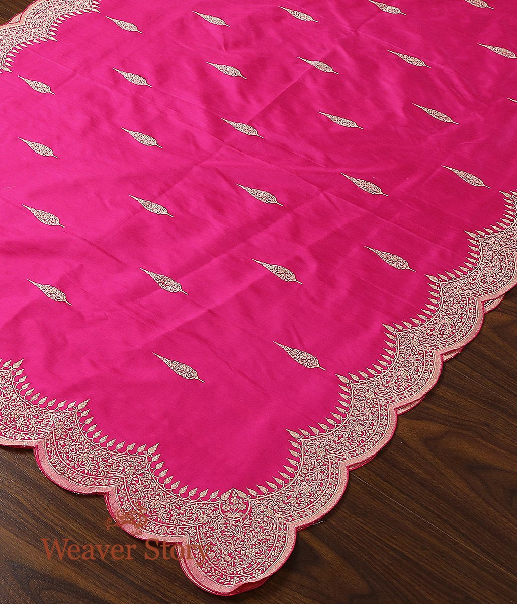 Handwoven Rani Pink Banarasi Dupatta with Scallop Borders