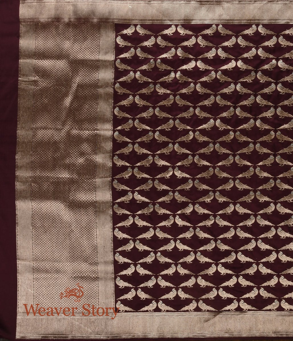 Handwoven Wine Kadhwa Dupatta with Birds