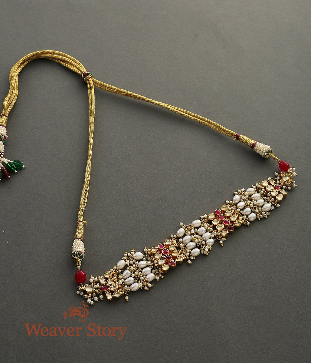 Pearl and Kundan Choker with Ruby Red Stones