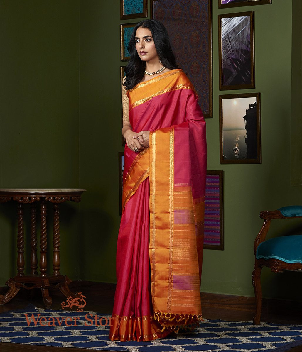Handwoven Pink Horizontal Stripes Kanjivaram Saree with Orange Border
