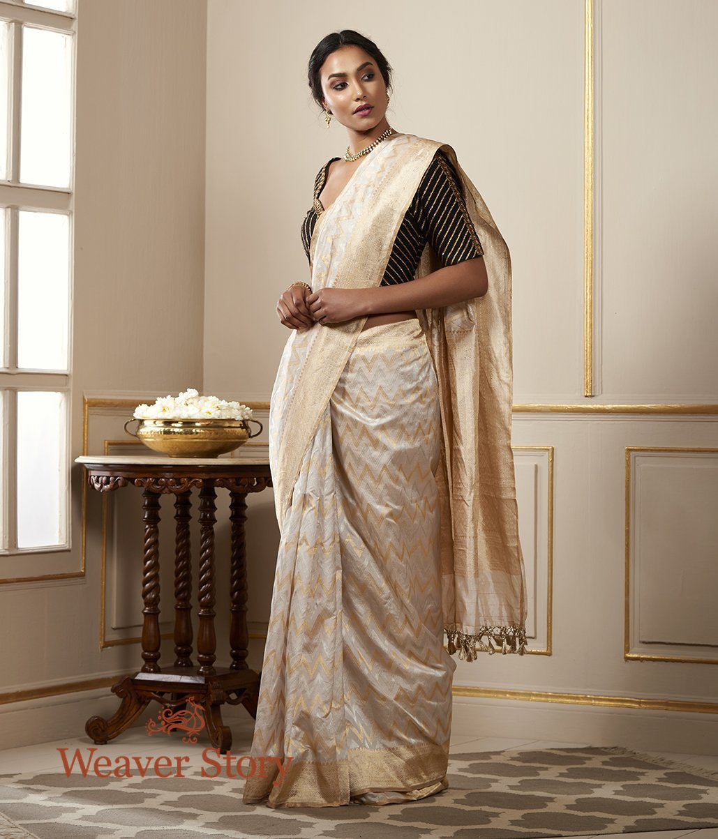 Handwoven Gold and Silver Tissue Saree with Chevrons
