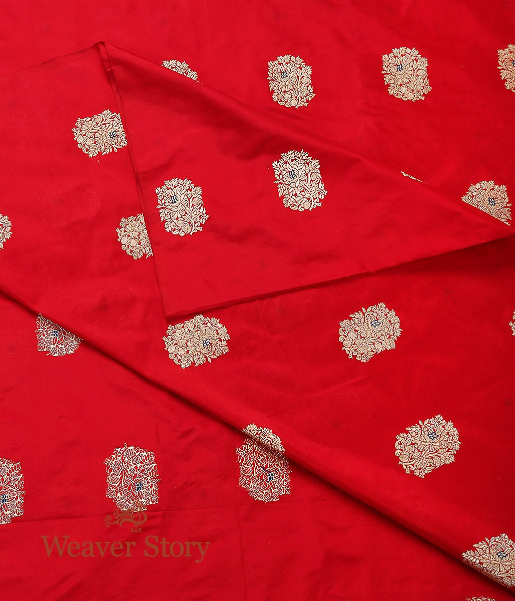 Handwoven Red Kadhwa Meenadar Boota Fabric