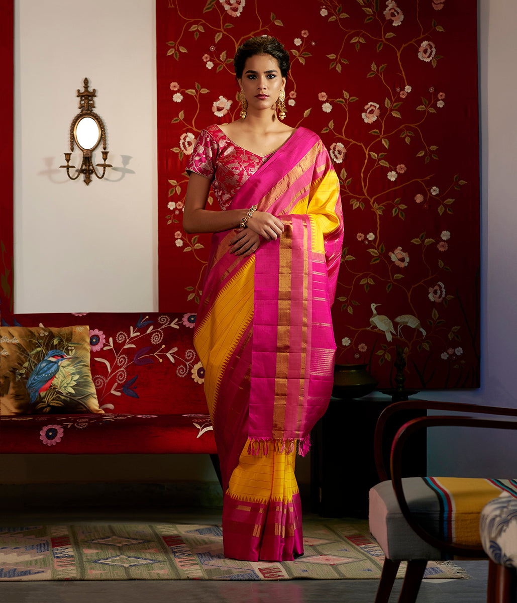 Yellow Kanjivaram Silk Saree With Majenta temple border