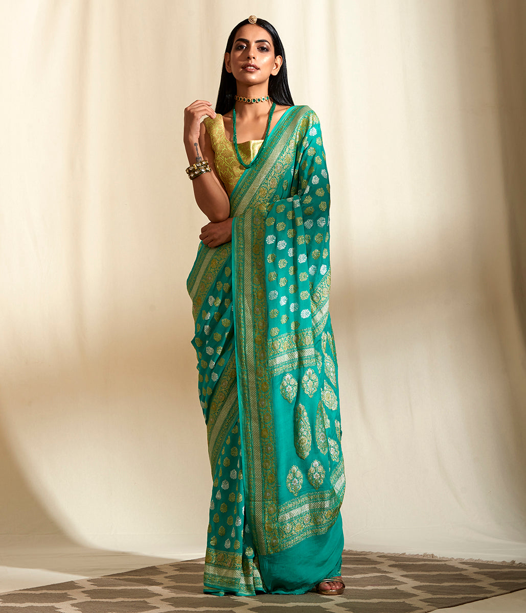 Handwoven Teal Green Khaddi Georgette Jangla Saree