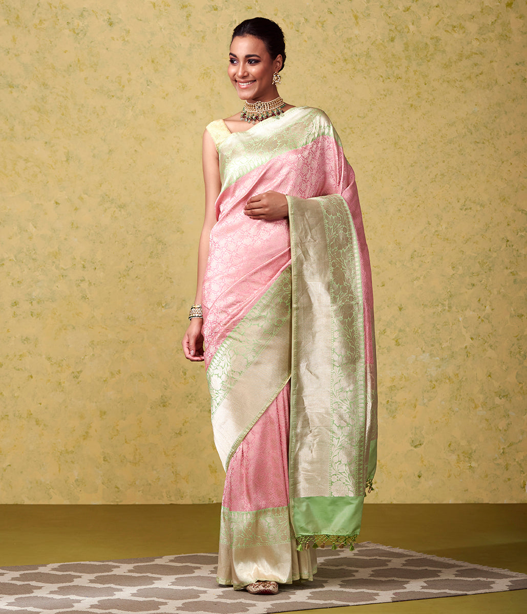Handwoven Banarasi Kimkhab in Pink with a Pistachio Green Border