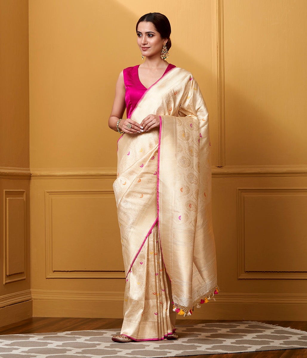 Handwoven Cream and Gold Meenakari Kimkhab Saree