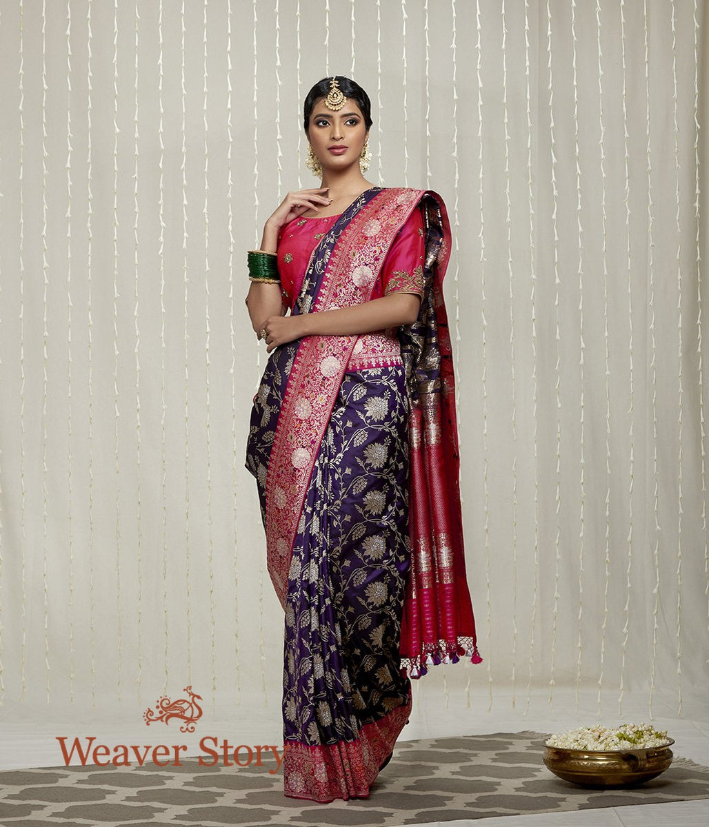 Handwoven Purple Heavy Jangla Saree with Pink Border