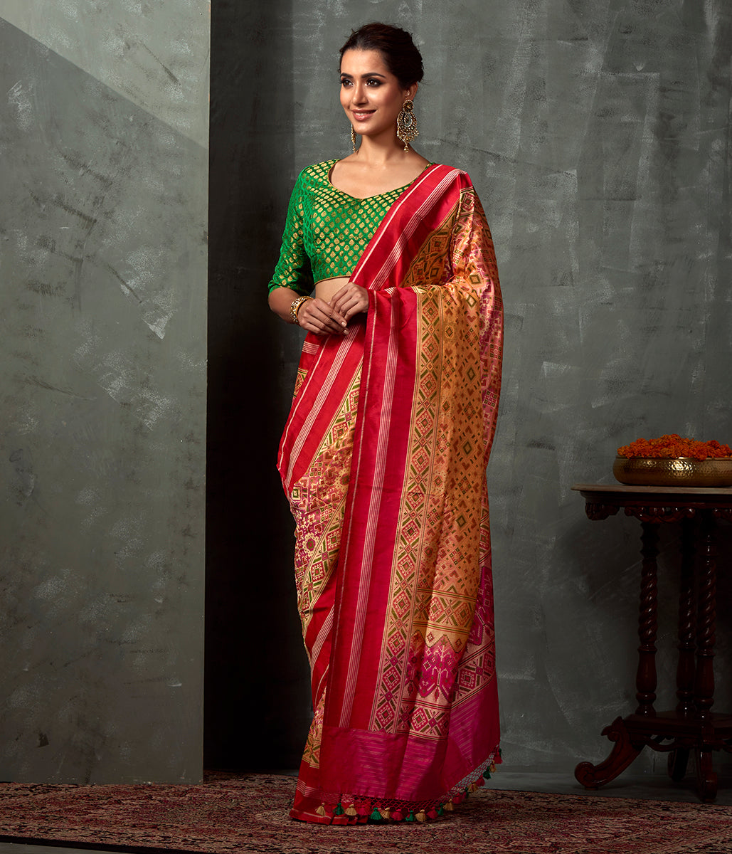 Handwoven Peach Meenakari Patola Saree with Red Border