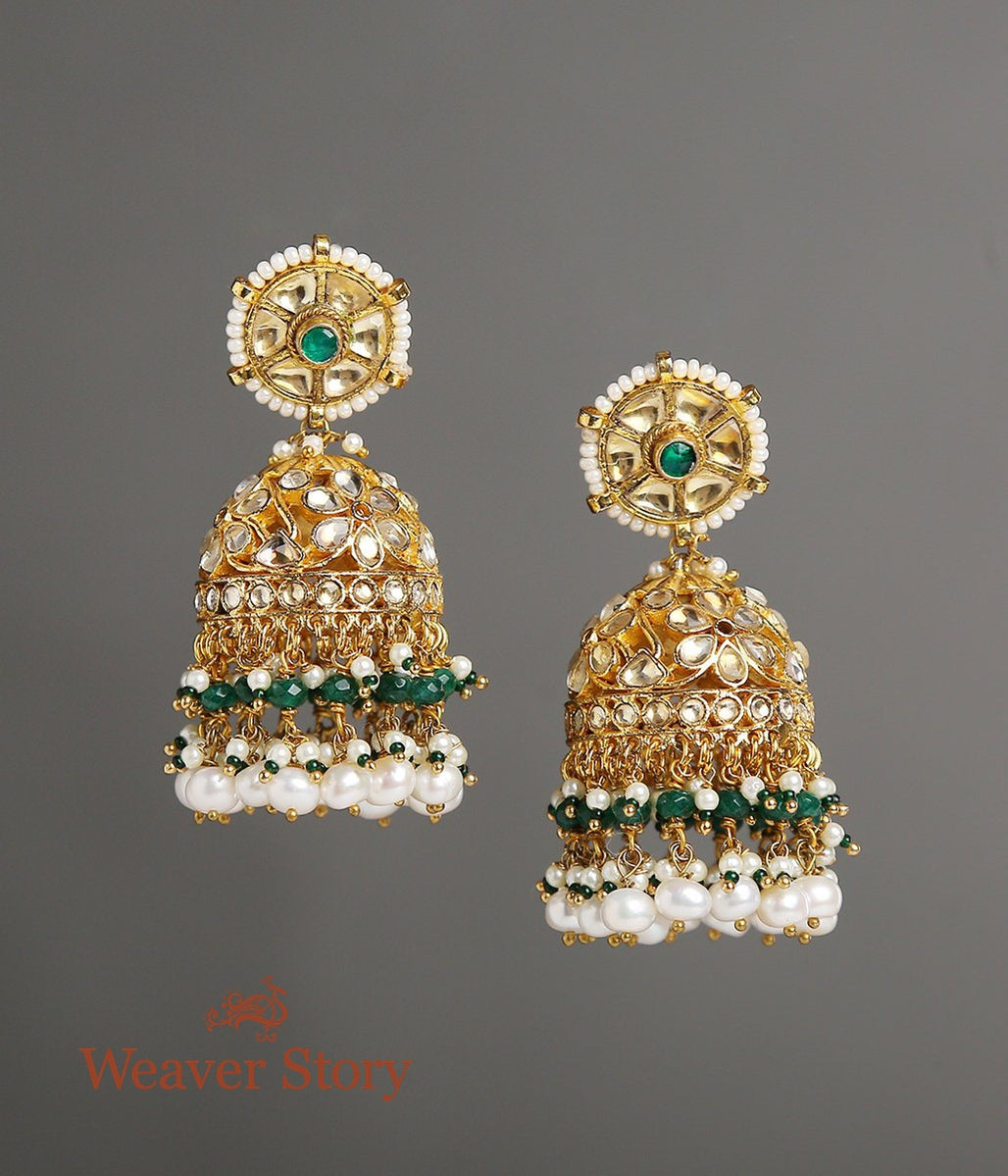 Floral Kundan Jhumkas with Pearl