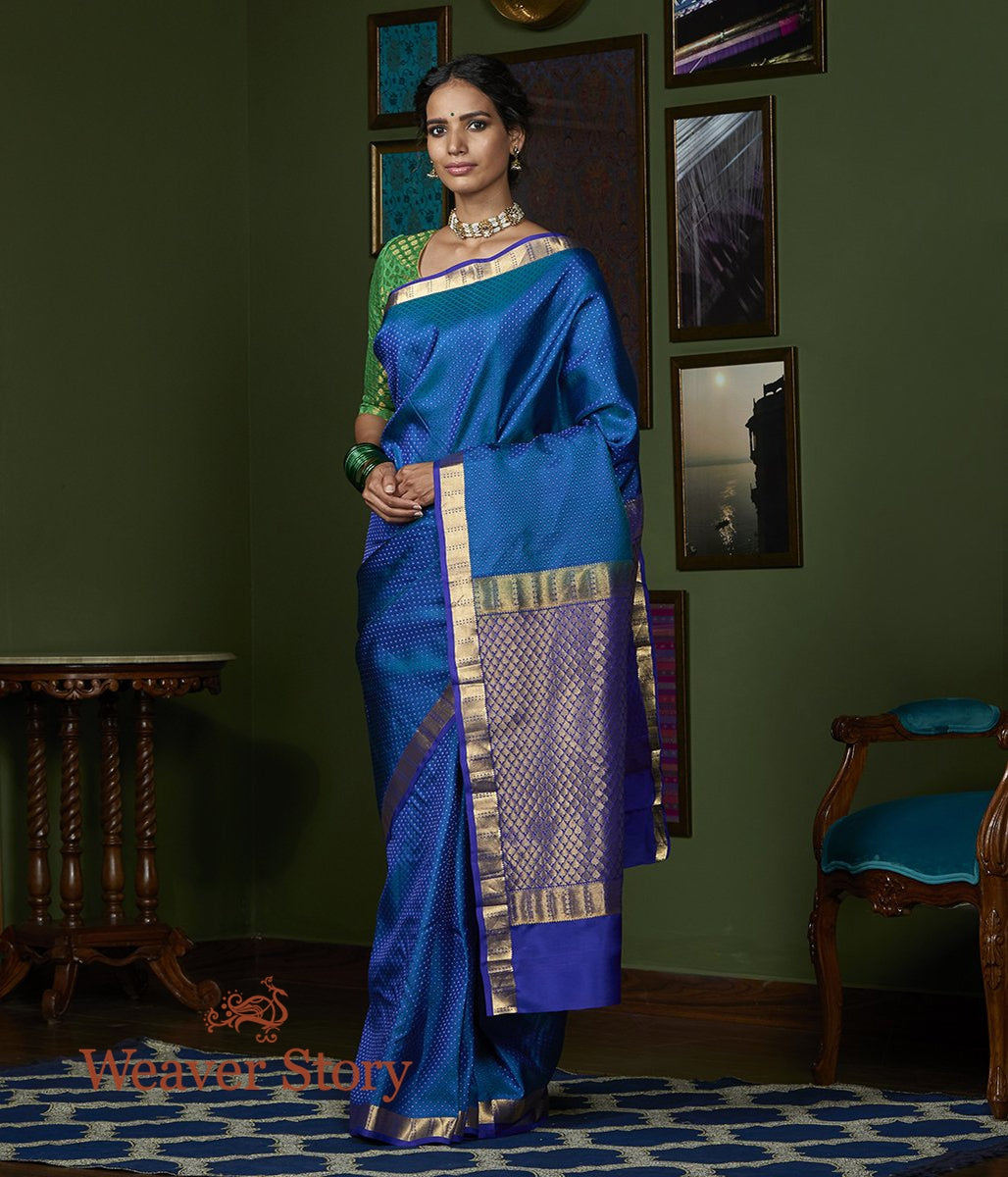 Handwoven Peacock Blue Self Weave Kanjivaram Saree with Purple Border