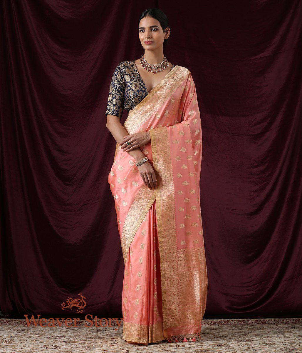 Handwoven Peach Banarasi Saree with Kairi Boota