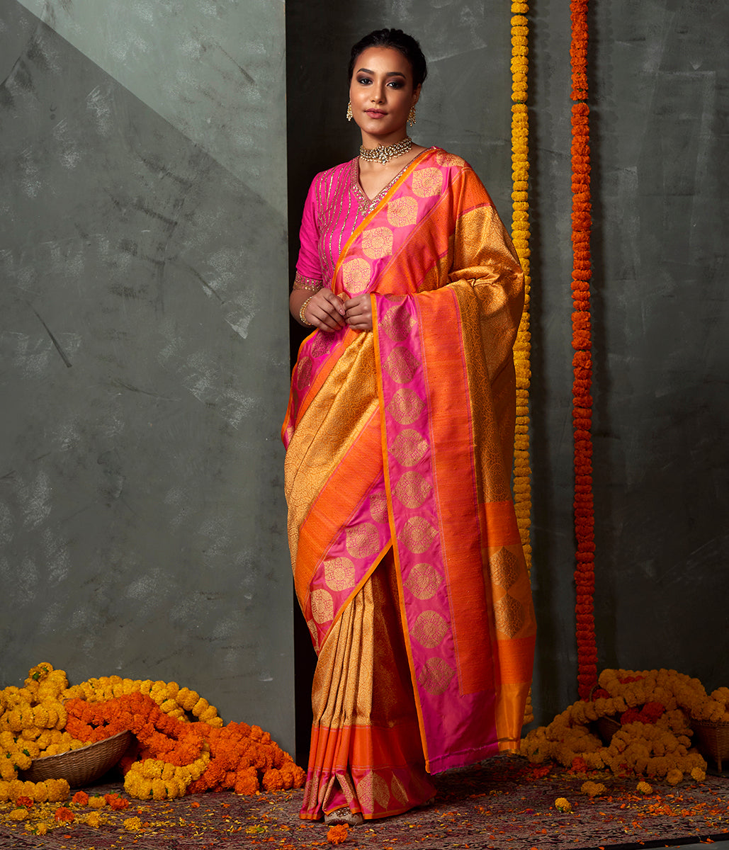 Handwoven Banarasi Kimkhab Saree in Mustard with and Orange and Pink Twill Weave Border