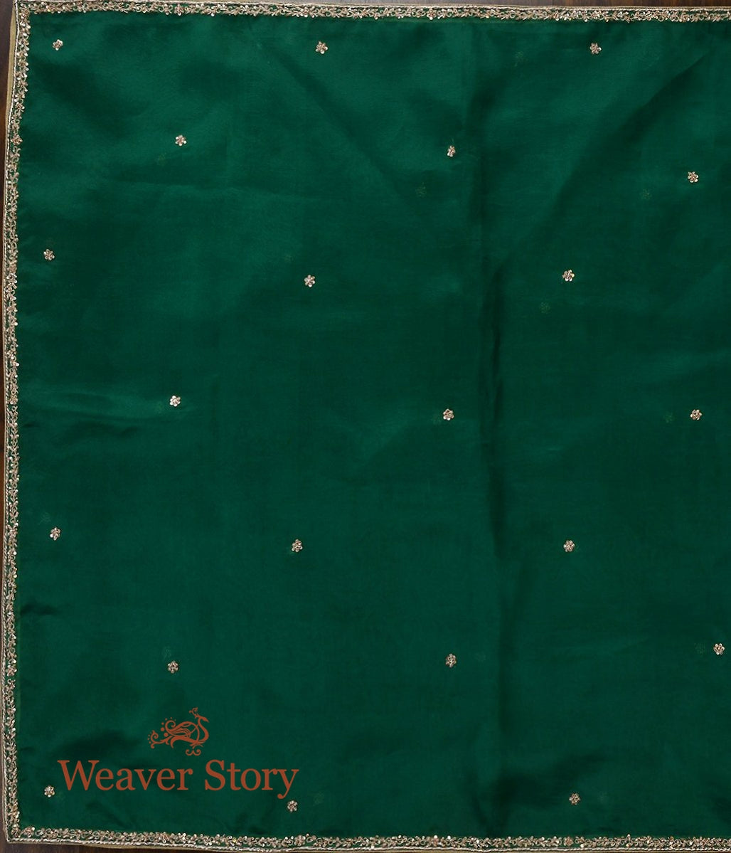 Bottle Green Zardozi Dupatta with Thin Border