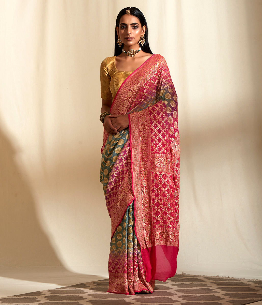 Handwoven Banarasi Bandhej Saree in Light Green and Pink ombre dye