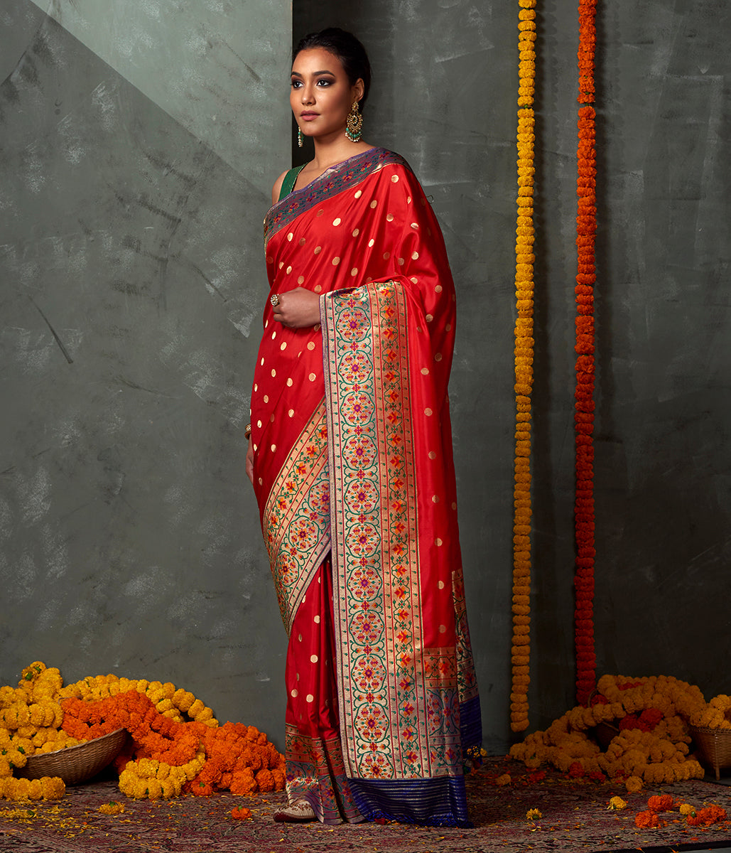 Handwoven Red Ginni Booti Saree with Paithani Border