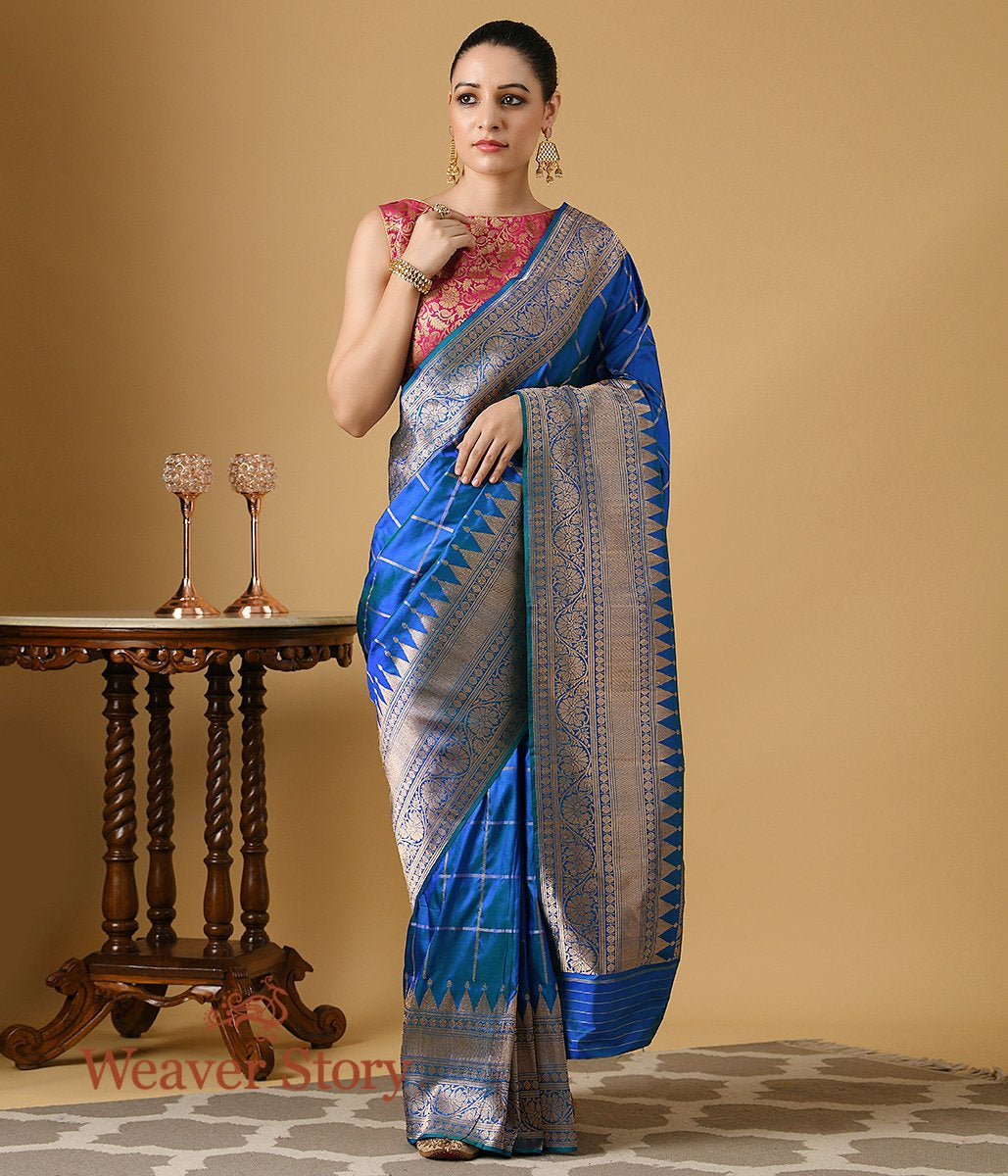 Handwoven Blue Katan Silk Banarasi with Checks and Temple Border