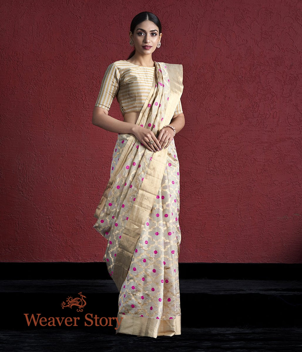 Handwoven Gold Silk Tissue Chanderi Saree with Meenakari