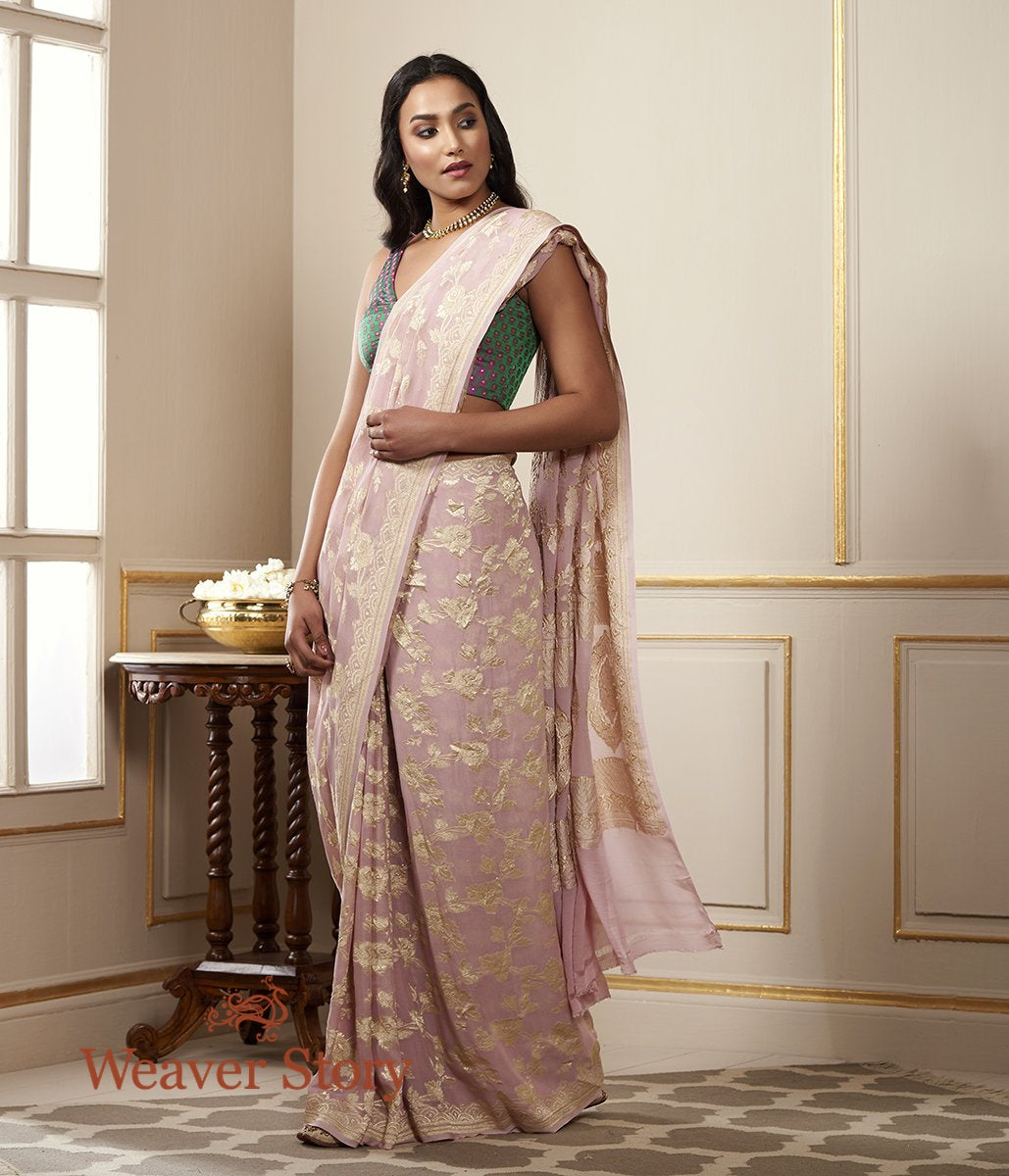 Handwoven Light Pink Banarasi Georgette Saree with Floral Jaal